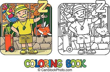 abc, alphabet, coloration, z, profession, gardien zoo, livre