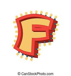 abc, alphabet., font., f, vendange, lampe, étincelant, lumières, incandescent, retro, lettre, ampoule