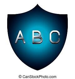 ABC alphabet font letters blue security shield symbol