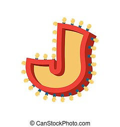 abc, alphabet., font., vendange, j, lampe, étincelant, lumières, incandescent, retro, lettre, ampoule