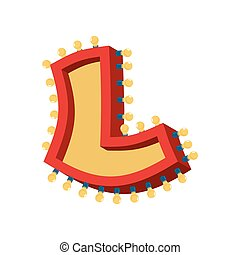 abc, alphabet., font., vendange, l, étincelant, lampe, lumières, incandescent, retro, lettre, ampoule
