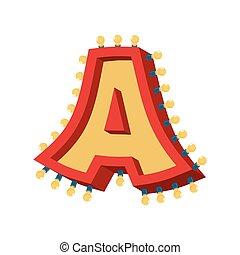 abc, alphabet., font., vendange, lampe, étincelant, lumières, incandescent, retro, lettre, ampoule