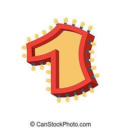 abc, alphabet, nombre, one., lampe, 1, lumières, incandescent, étincelant, font., vendange, ampoule, signe, lumière, retro