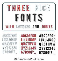 abc, alphabet., set., hand, schriftart, vektor, gezeichnet, handschrift, digits.