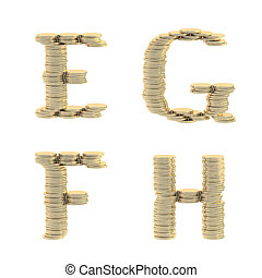 ABC alphabet symbols made of coins