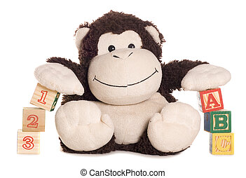 Abc and 123 blocks with soft toy monkey