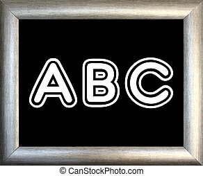 ABC and silver picture frame on black background