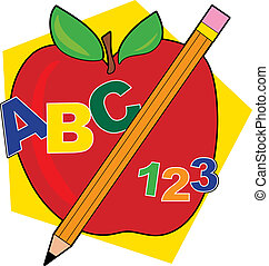ABC Apple - Apple with a pencil and ABCs