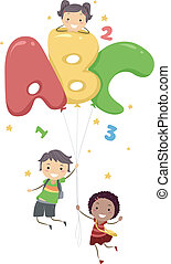 ABC Balloons - Illustration of Kids Playing with...