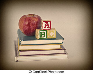 abc, blocchi, e, mela, su, libri bambini, sepia, stile