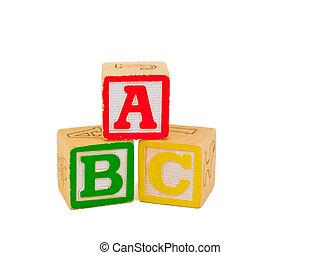 Alphabet blocks stacked as ABC.