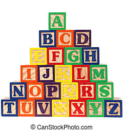 Close-up of ABC blocks A-Z on white background. Shot with a Canon 20D.