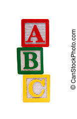 Childrens Multi Colored Old Alphabet Building Blocks, Isolated Over White