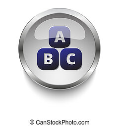 Abc Blocks dark blue vector icon on a glossy glass button with chrome on white background