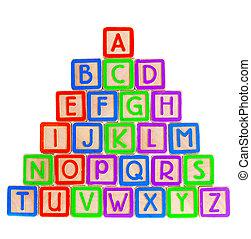 abc blocks isolated on white background