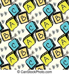 abc blocks seamless pattern