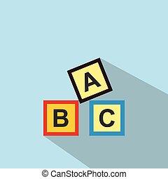 ABC blocks toy flat icon