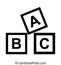 ABC blocks toy simple icon