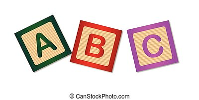 Wooden blocks with the letters ABC over a white background