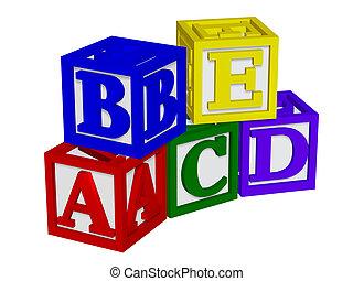 abc, blocos, 3d