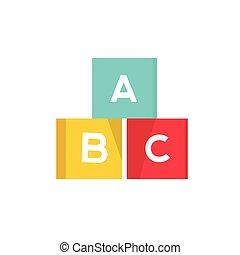 abc, blocs, cubes, alphabet, illustration, vecteur