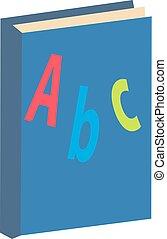 ABC book icon, flat, cartoon style. Isolated on white background. Vector illustration.