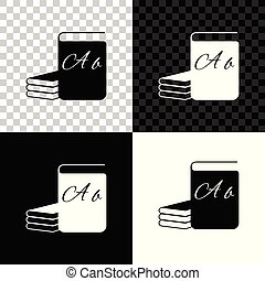 ABC book icon isolated on black, white and transparent background. Dictionary book sign. Alphabet book icon. Vector Illustration