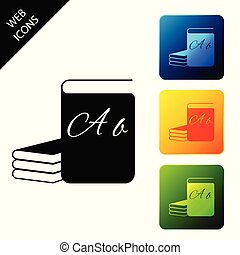 ABC book icon isolated on white background. Dictionary book sign. Alphabet book icon. Set icons colorful square buttons. Vector Illustration