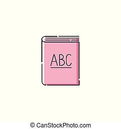 ABC book icon isolated on white background, school education...