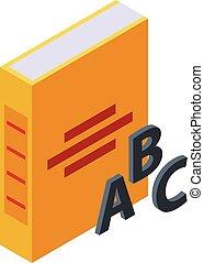 Abc book icon, isometric style - Abc book icon. Isometric of...