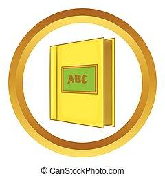 Abc book vector icon in golden circle, cartoon style ...