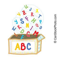 Abc box funny concept of education illustration