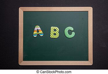 abc, cadre, bois, texte, vert, planche, fond, noir