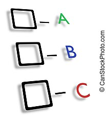 ABC check boxes - Illustrated check boxes with letters in...