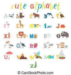 ABC. Children alphabet with cute cartoon animals and other funny elements. Cartoon vocabulary for education