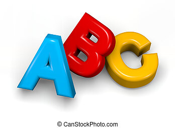 Abc colorful text on white 3d illustration