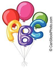 abc, colorido, alfabeto, globos