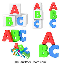 ABC Concets on White Background. - Primary Education ABC Set...
