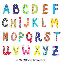 abc, crianças, engraçado, desenho