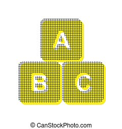ABC cube sign illustration. Vector. Yellow icon with square patt