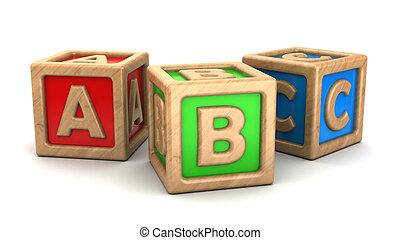 abc cubes - 3d illustration of abc wooden cubes