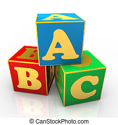 ABC Cubes - Blue, red and green ABC cubes with golden text.