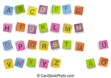 Colorfully abc cubes made of wood, isolated on a white background