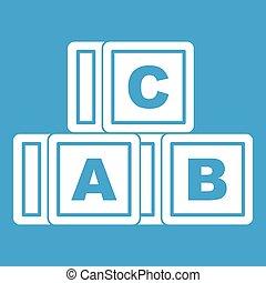 ABC cubes icon white