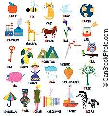 abc, für, kinder, mit, tiere, gegenstände, spielzeuge