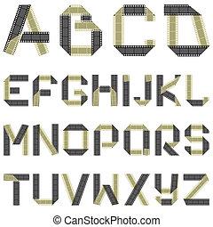 ABC film tape - vector alphabet of folded film tape