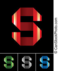 ABC font from coloured set paper ribbon-Latin letter S