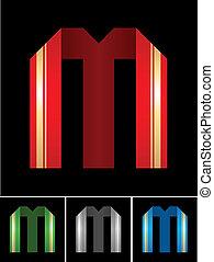 ABC font from coloured set paper ribbon-Latin letter M