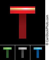 ABC font from coloured set paper ribbon-Latin letter T