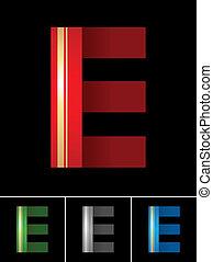 ABC font from coloured set paper ribbon-Latin letter E